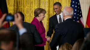 Chancellor Angela Merkel of Germany and President Obama said the alliance between the United States and Europe remained strong, despite potential disagreements on whether to provide arms to Ukraine.