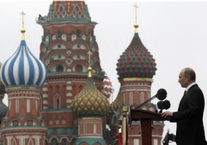 Russian President Vladimir Putin makes a speech during the Victory Parade on Moscow's Red Square.