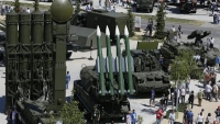 "A Russian self-propelled surface-to-air BUK-M2E missile system, on display at Russia's ""Army-2015"" international military exhibition outside Moscow in June. An earlier version of the sophisticated missile launcher is suspected to have been used in the downing of Malaysia Airlines Flight 17 last year."