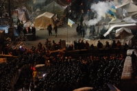 Riot police block Pro-European Union activists camping out in their tents on the Independence Square in Kiev, Ukraine.