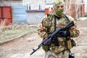 An Azov Regiment soldier near the front lines in Berdyans'ke.