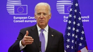 U.S. Vice President Joe Biden speaking at the EU Council headquarters in Brussels.