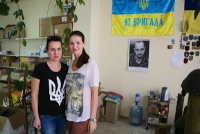 Inna Dubniak, 36 (L), and Julia Dimitrova—civilian volunteers at their office in Dnipropetrovsk.