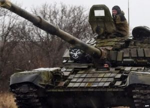 Reactive armour covers this Russian tank used by the rebels.