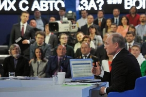 Russian President Vladimir Putin at his annual televised question-and-answer session in Moscow last week.